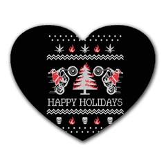 Motorcycle Santa Happy Holidays Ugly Christmas Black Background Heart Mousepads