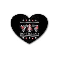 Motorcycle Santa Happy Holidays Ugly Christmas Black Background Rubber Coaster (Heart)