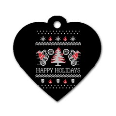 Motorcycle Santa Happy Holidays Ugly Christmas Black Background Dog Tag Heart (Two Sides)