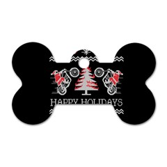 Motorcycle Santa Happy Holidays Ugly Christmas Black Background Dog Tag Bone (One Side)