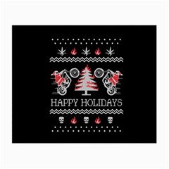 Motorcycle Santa Happy Holidays Ugly Christmas Black Background Small Glasses Cloth (2-Side)