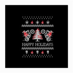 Motorcycle Santa Happy Holidays Ugly Christmas Black Background Medium Glasses Cloth (2-Side)
