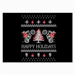 Motorcycle Santa Happy Holidays Ugly Christmas Black Background Large Glasses Cloth (2-Side)