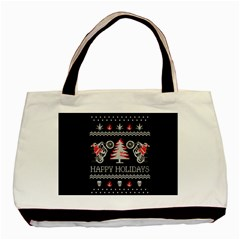 Motorcycle Santa Happy Holidays Ugly Christmas Black Background Basic Tote Bag (Two Sides)