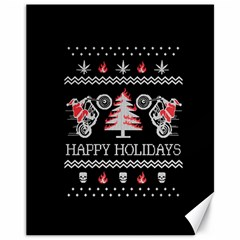 Motorcycle Santa Happy Holidays Ugly Christmas Black Background Canvas 11  x 14
