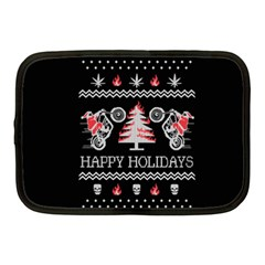 Motorcycle Santa Happy Holidays Ugly Christmas Black Background Netbook Case (Medium)