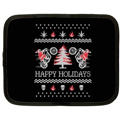 Motorcycle Santa Happy Holidays Ugly Christmas Black Background Netbook Case (Large)