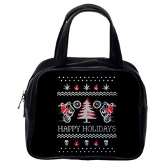 Motorcycle Santa Happy Holidays Ugly Christmas Black Background Classic Handbags (One Side)