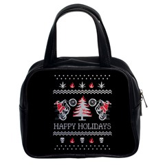 Motorcycle Santa Happy Holidays Ugly Christmas Black Background Classic Handbags (2 Sides)