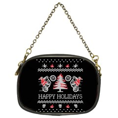Motorcycle Santa Happy Holidays Ugly Christmas Black Background Chain Purses (One Side)