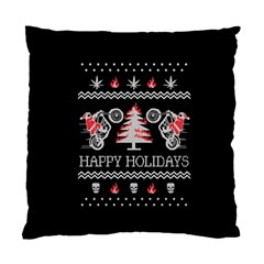Motorcycle Santa Happy Holidays Ugly Christmas Black Background Standard Cushion Case (Two Sides)