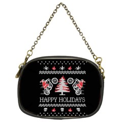 Motorcycle Santa Happy Holidays Ugly Christmas Black Background Chain Purses (Two Sides)