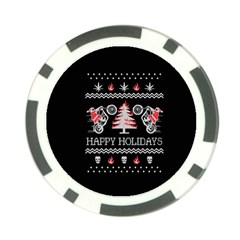 Motorcycle Santa Happy Holidays Ugly Christmas Black Background Poker Chip Card Guard (10 pack)