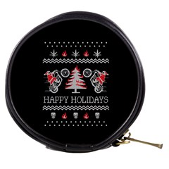 Motorcycle Santa Happy Holidays Ugly Christmas Black Background Mini Makeup Bags