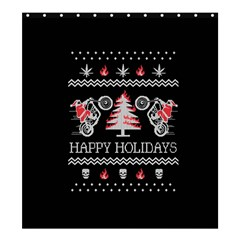 Motorcycle Santa Happy Holidays Ugly Christmas Black Background Shower Curtain 66  x 72  (Large)