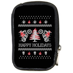 Motorcycle Santa Happy Holidays Ugly Christmas Black Background Compact Camera Cases