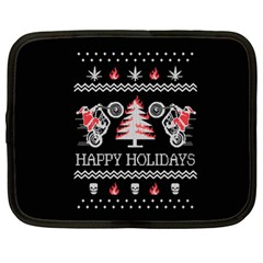 Motorcycle Santa Happy Holidays Ugly Christmas Black Background Netbook Case (XL)