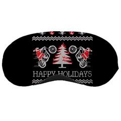 Motorcycle Santa Happy Holidays Ugly Christmas Black Background Sleeping Masks