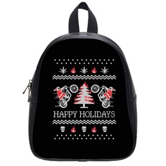 Motorcycle Santa Happy Holidays Ugly Christmas Black Background School Bags (Small)