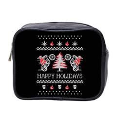 Motorcycle Santa Happy Holidays Ugly Christmas Black Background Mini Toiletries Bag 2-Side