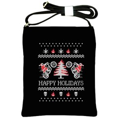 Motorcycle Santa Happy Holidays Ugly Christmas Black Background Shoulder Sling Bags