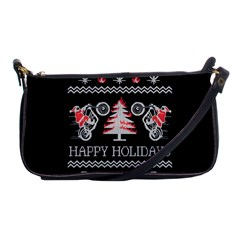 Motorcycle Santa Happy Holidays Ugly Christmas Black Background Shoulder Clutch Bags