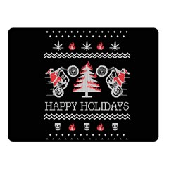 Motorcycle Santa Happy Holidays Ugly Christmas Black Background Fleece Blanket (Small)