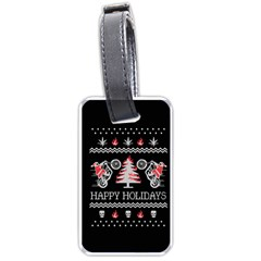 Motorcycle Santa Happy Holidays Ugly Christmas Black Background Luggage Tags (One Side)