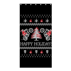 Motorcycle Santa Happy Holidays Ugly Christmas Black Background Shower Curtain 36  x 72  (Stall)