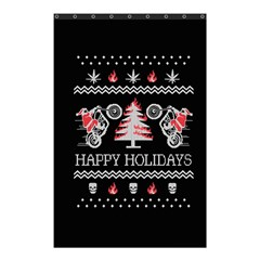 Motorcycle Santa Happy Holidays Ugly Christmas Black Background Shower Curtain 48  x 72  (Small)