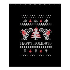 Motorcycle Santa Happy Holidays Ugly Christmas Black Background Shower Curtain 60  x 72  (Medium)