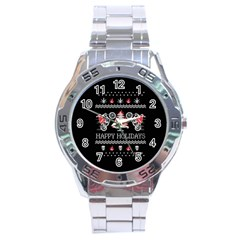 Motorcycle Santa Happy Holidays Ugly Christmas Black Background Stainless Steel Analogue Watch