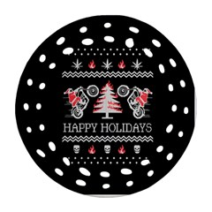 Motorcycle Santa Happy Holidays Ugly Christmas Black Background Ornament (Round Filigree)
