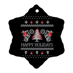 Motorcycle Santa Happy Holidays Ugly Christmas Black Background Snowflake Ornament (Two Sides)