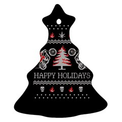 Motorcycle Santa Happy Holidays Ugly Christmas Black Background Christmas Tree Ornament (Two Sides)