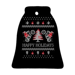 Motorcycle Santa Happy Holidays Ugly Christmas Black Background Bell Ornament (Two Sides)