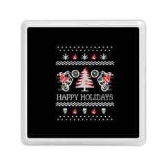 Motorcycle Santa Happy Holidays Ugly Christmas Black Background Memory Card Reader (Square)