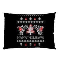 Motorcycle Santa Happy Holidays Ugly Christmas Black Background Pillow Case (Two Sides)