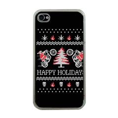Motorcycle Santa Happy Holidays Ugly Christmas Black Background Apple iPhone 4 Case (Clear)