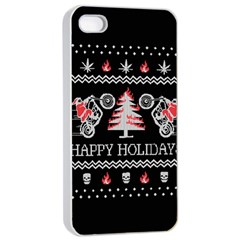 Motorcycle Santa Happy Holidays Ugly Christmas Black Background Apple iPhone 4/4s Seamless Case (White)
