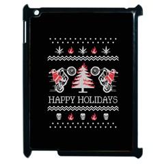 Motorcycle Santa Happy Holidays Ugly Christmas Black Background Apple iPad 2 Case (Black)