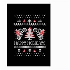 Motorcycle Santa Happy Holidays Ugly Christmas Black Background Small Garden Flag (Two Sides)