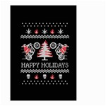 Motorcycle Santa Happy Holidays Ugly Christmas Black Background Small Garden Flag (Two Sides) Back