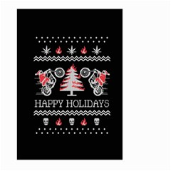 Motorcycle Santa Happy Holidays Ugly Christmas Black Background Large Garden Flag (two Sides)