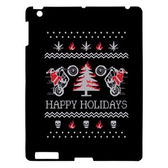 Motorcycle Santa Happy Holidays Ugly Christmas Black Background Apple iPad 3/4 Hardshell Case