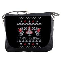 Motorcycle Santa Happy Holidays Ugly Christmas Black Background Messenger Bags