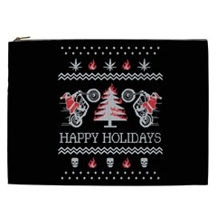 Motorcycle Santa Happy Holidays Ugly Christmas Black Background Cosmetic Bag (XXL)