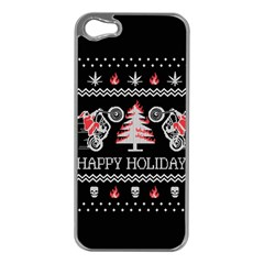 Motorcycle Santa Happy Holidays Ugly Christmas Black Background Apple iPhone 5 Case (Silver)