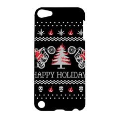 Motorcycle Santa Happy Holidays Ugly Christmas Black Background Apple iPod Touch 5 Hardshell Case
