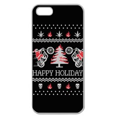 Motorcycle Santa Happy Holidays Ugly Christmas Black Background Apple Seamless iPhone 5 Case (Clear)